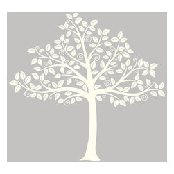 """WallPops - Silhouette Tree Wall Art Decal Kit - Enchant your nursery with this beautiful white tree decal. This fresh and whimsical design creates a chic silhouette for a painted wall, with swirling branches full of leaves. For a classy addition to your nursery Decor or a sweet gift for expectant parents, this tree decal is a charming wall accent. This WallPop Comes on 2 17.25"""" x 39"""" Sheets and contains 129 Pieces Total. WallPops are repositionable and always removable."""
