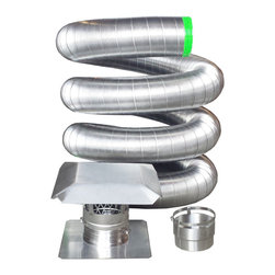"RockFlex Stainless Steel Flexible Chimney Liner Insert Kit, 4 Inch x 25 Feet - Your new stainless chimney liner kit will include: 4"" x 25' Premium .006 Thick Stainless Steel Flexible Chimney Liner (316). The liner is air and water tight sealed. 7 seams with 10 corrugations between each seam. These liners have the very best flexibility and strength combined on today's market. When they heat up they expand, when they cool down they contract, cutting down and fighting against creosote build up. Note: The size given is the inside diameter. Add 1/4"" for the outside diameter of the liner. 13"" x 13"" Top Plate with a Quick Connect Collar. You can trim it to fit with a pair of snips and it's ready for installation. Quick Connect Flue Cap with mesh screen. Fasten down the quick connect clamp to the collar of the Top Plate and you're done! A sharp looking cap that installs in a snap. Vertical Appliance Connector where the liner fits into the female side, utilizing the quick connect band. The other end is crimped and ready for your insert, fireplace, stove, or other appliance. A perfect round fit every time thanks to the smooth weld technology. Complete do-it-yourself installation instructions (Installing a chimney liner made easy.) We will support you before and after the sale. Lifetime Warranty and it is transferable if you should ever sell your house."
