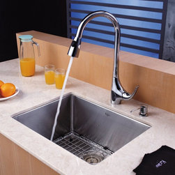 Kraus - Kraus KHU101-23-KPF1621-KSD30CH Single Basin Undermount Kitchen Sink with Faucet - Shop for Kitchen from Hayneedle.com! Clean and simple lines give the Kraus KHU101-23-KPF1621-KSD30CH Single Basin Undermount Kitchen Sink with Faucet a sophisticated modern appeal to catch your eye. Its faucet operates smoothly with a single handle and even doubles as a strong sprayer with a push of a button. The oversized basin offers ample room for any task your kitchen can dish out.Product SpecificationsBowl Depth (inches): 10Weight (pounds): 25Low Lead Compliant: YesEco Friendly: YesMade in the USA: YesHandle Style: LeverValve Type: Ceramic DiscFlow Rate (GPM): 2.2Spout Height (inches): 10.5Spout Reach (inches): 9About KrausWhen you shop Kraus you'll find a unique selection of designer pieces including vessel sinks and faucet combinations. Kraus incorporates its distinguished style with superior functionality and affordability while maintaining highest standards of quality in its vast product line. The designers at Kraus are continuously researching and exploring broader markets seeking new trends and styles. Additionally durability and reliability are vital components at Kraus for developing high-quality fixtures. Every model undergoes rigorous testing and inspection prior to distribution with customer satisfaction in mind. Step into the Kraus world of plumbing perfection. With supreme quality and unique designs you will reinvent how you see your bathroom decor. Let your imagination become reality!