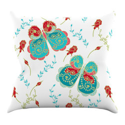 """Kess InHouse - Anneline Sophia """"Leafy Butterflies Red"""" Aqua Butterfly Throw Pillow (20"""" x 20"""") - Rest among the art you love. Transform your hang out room into a hip gallery, that's also comfortable. With this pillow you can create an environment that reflects your unique style. It's amazing what a throw pillow can do to complete a room. (Kess InHouse is not responsible for pillow fighting that may occur as the result of creative stimulation)."""