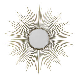 Sunburst Mirror - A dense frame of nickel rays shimmers around the face of the Round Sunburst Mirror, which is ringed in a textured, narrow frame that serves as an anchor for the burst of gleaming silvery lines. This version is over three feet in diameter - an impressive scale, designed for impact and crafted for style in the traditional or transitional home. Use it to achieve a dramatic celestial effect that coordinates with chic choices in the design of your space.