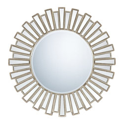 Quoizel - Quoizel QR983 Contemporary Round Mirror - The sunburst effect is a popular design for mirrors.  To pull the look off perfectly this round beveled mirror is flanked by mirrored rectangular pieces and antique silver patina banding.