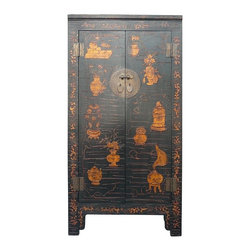 Golden Lotus - Chinese Relief Motif Golden Paint Dresser Armoire Cabinet - This cabinet has a matte golden color tone painting of vases on the doors. The painting is painted with thick ink, so there is 3-D texture. The combination of matte gold and black makes the cabinet have the oriental accent without overwhelming. It is a unique dresser for the bedroom with its decent design or a storage cabinet in the office or living room.