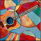 "Tile Art Gallery - Music IV Ceramic Accent Tile, 12 in - This is a beautiful sublimation printed ceramic tile entitled ""Music IV"" by artist Shirley Novak. The printed tile displays a Guitar and a colorful abstract background. Pricing starts at just $14.95 for a 4.25 inch tile."