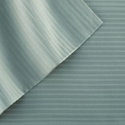 400 Thread Count 100% Tencel Pin stripe 4-piece sheet set King Ocean Blue - Stay dry and comfortable all night long with these 100-percent Tencel sheets, able to absorb moisture 50-percent better than cotton. The soft, silky-smooth material of these sheets provides you with a great night's sleep.