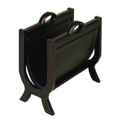 Benzara - Wood Leather Magazine Holder with Leather Cover - If you are looking for low cost but rare to find elsewhere decor item to bring extra galore that could refresh the decor appeal of short spaces on tables and shelves, beautifully carved 71379 WOOD LEATHER MAGAZINE HOLDER may be a good choice.