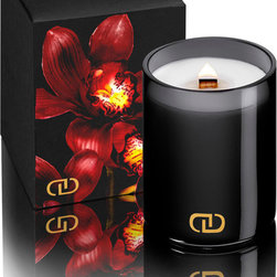 DayNa Decker Exotic Chandel 6 oz - Ashiki - With inventive home-decor solutions, a traditional candle need not be boring or humble. The Exotic Chandel is a true luxury item with innovation and grace in every detail: a natural wax blend infused with a complex, musky floral aroma, lighted by an organic wooden wick that crackles appealingly and casts a warm, soothing glow. The candle is poured into a shadow-colored, gold-monogrammed glass cup for a chic monochrome look.