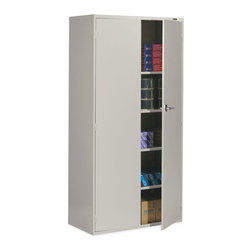 """Global - Global Office 9300 Series Economy Vertical Metal Storage Cabinet-Desert Putty - Global - Filing Cabinets - 9336S72LDPT - The 9300 Series Economy Office Storage Cabinet offers two 72"""" high cabinets each with one fixed center shelf and three adjustable shelves. It features standard lock bars on both sides of the cabinet for heightened security and an upscale appearance. Smooth seamless welded corners provide for lasting strength and durability."""
