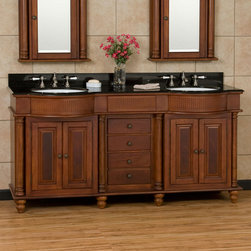 "72"" George Washington Brown Cherry Double Vanity - This 72"" vanity features matching porcelain sinks, full round pilasters and curved, fluted crowns that combine to make this an elegant choice for your master suite or guest bath."