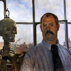 """Lovis Corinth Self Portrait with Skeleton - 18"""" x 24"""" Premium Archival Print - 18"""" x 24"""" Lovis Corinth Self Portrait with Skeleton premium archival print reproduced to meet museum quality standards. Our museum quality archival prints are produced using high-precision print technology for a more accurate reproduction printed on high quality, heavyweight matte presentation paper with fade-resistant, archival inks. Our progressive business model allows us to offer works of art to you at the best wholesale pricing, significantly less than art gallery prices, affordable to all. This line of artwork is produced with extra white border space (if you choose to have it framed, for your framer to work with to frame properly or utilize a larger mat and/or frame).  We present a comprehensive collection of exceptional art reproductions byLovis Corinth."""