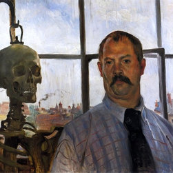 "Lovis Corinth Self Portrait with Skeleton - 18"" x 24"" Premium Archival Print - 18"" x 24"" Lovis Corinth Self Portrait with Skeleton premium archival print reproduced to meet museum quality standards. Our museum quality archival prints are produced using high-precision print technology for a more accurate reproduction printed on high quality, heavyweight matte presentation paper with fade-resistant, archival inks. Our progressive business model allows us to offer works of art to you at the best wholesale pricing, significantly less than art gallery prices, affordable to all. This line of artwork is produced with extra white border space (if you choose to have it framed, for your framer to work with to frame properly or utilize a larger mat and/or frame).  We present a comprehensive collection of exceptional art reproductions byLovis Corinth."