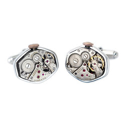 Frontgate - Watch Movement Cufflinks - Attractive tonneau shape. Sterling silver setting and findings. Comes with a certificate of authenticity and an elegant box for gift-giving. Movements do not function. Allow the beautiful mechanics of watches from the 1930s to adorn your best dress shirt. Our Watch Movement Cufflinks celebrate the intrigue of mechanical gears, levers, and jewels from real vintage watches.  .  .  .  .
