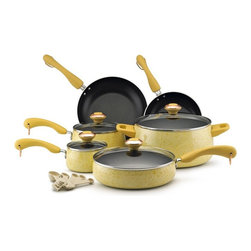 Paula Deen - Paula Deen Signature Porcelain non-stick Cookware 15 Piece Set - Butter Multicol - Shop for Cookware Sets from Hayneedle.com! You know Paula Deen loves her butter. It's added right in to this Paula Deen Signature Non-stick 15-Piece Set in Butter. The cookware pieces in this comprehensive set are oven-safe up to 350 degrees and have yummy speckled butter-yellow porcelain exteriors with color-coordinating plastic handles. The set comes with four pots and pans with tight-fitting tempered glass lids and two skillets. It even includes a set of five matching measuring spoons.