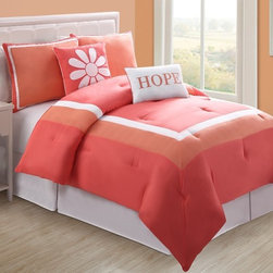 Bed In A Bag - Reversible Coral Hope Bed in a Bag Coral/White - Reversible Coral Hope Bed in a Bag Coral/White.  Machine Washable/ 100% Polyester.