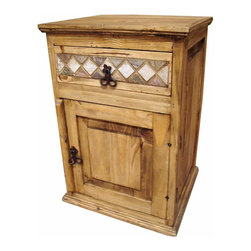 Marble And Pine Rustic Night Stand - One of our best selling nightstands with beautiful marble inlay. This rustic marble and pine nightstand is a Tres Amigos exclusive. Matching furniture pieces are available for Every room in your home. This item is great as an end table too.
