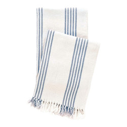 Pine Cone Hill Ibiza French Blue Throw Blanket - Throw blankets are a cottage necessity, whether you need it late at night to stay up and watch the stars, or on a rainy day to cuddle in front of a fire. This throw is made of super soft cotton in calming colors that call for relaxation.