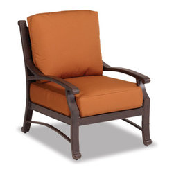 Thos. Baker - newport club chair w/ cushions - The newport collection features heavy gauge wrought aluminum in a Mediterranean bronze finish. Plush Sunbrella® double-piped cushions included in all seating items.