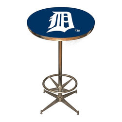 Imperial International - Detroit Tigers MLB Pub Table - Check out this awesome pub table. It's perfect for your Man Cave, Game Room, Home Bar, or anywhere you want to show love for your favorite team. It has a disco style steel base with leg levelers and foot ring.