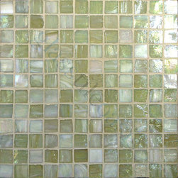 "Glass Tile Oasis - Green Opal 1"" x 1"" Green Pool Glossy & Iridescent Glass - Sheet size:  12 5/8"" x 12 5/8""     Tile Size:  1"" x 1""     Tiles per sheet:  144     Tile thickness:  1/4""      Recycled Components:   70%     Sheet Mount:  Paper Face      Sold by the sheet    -  Brilliant glass combed through with coordinating colors and available in 14 mouth-watering colors  in both Iridescent and Frost finishes.Waterfall tiles are hand-poured and will have a certain amount of variation and variegation of color  tone  shade and size. Additionally  you will notice creases  wrinkles  shivers  waves  bubbles topped off with a natural surface to catch all forms of light for a brilliant effect. These characteristics of natural glass and only serve to enhance the final beauty of the installation."