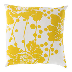 Keltainen Floral Pillow - This pillow can very well be the indoor design sunshine to your gray day. Graphic, bold in yellow and cooling to the eyes, the accent piece throws a striking punch to any throw pillow mashup. Polyester filler included.