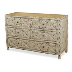 Interlude Home - Interlude Home Camila Large Dresser - This Interlude Home Large Dresser is crafted from Wood and Linen and Mirror and Metal and finished in Tan Linen and Antique Mirror and Antique Brass.  Overall size is:  54 in. W  x  20 in. D x 36 in. H.