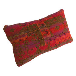 Interior Nature - Textured Pillows - Pre-Digital Era Fiber Art Red Pillows - Enjoy new unique pillows made from pre-digital era textile art. The richest royal hues of reds, blues, purples, golds and tangerines artistically woven into textural patterns. The design is a modern interpretation of motifs of the byzantine empire and the fleur de lis. Mixed fiber. A late 60's tapestry fabric originally used in a mid-century modern home. Due to the tightness of the weave, open threads do not undermine the stability of the fabric. Each pillow has the same pattern! White down/feather inserts.