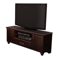 "South Shore - South Shore Dover 60"" TV Stand in Dark Mahogany - South Shore - TV Stands - 4316677 - Find your comfort zone with Dover collection that combines the timeless look of a dark mahogany finish with elegantly shaped legs and pewter finish metal handles. Featuring classic lines and abundant storage for electronic equipment DVDs CDs books or clothes the Dover TV stand is even suited for placement at the foot of your bed. Presents 1 drawer with metal slides 2 close and 1 open storage spaces.Features:"
