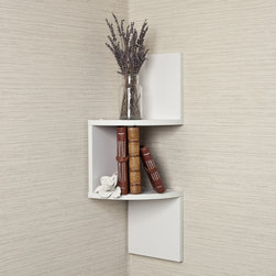 Danya B - Laminated Corner Shelf in White Finish - Save space and stay organized with the zigzagging design of a corner wall shelf.  Provides needed shelving while taking up very little room. Display collectibles,photos,toys,awards,decorative items and more.