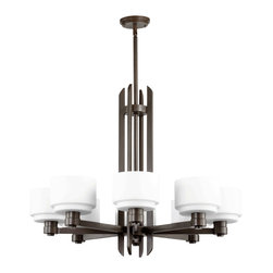 Quorum Lighting - Quorum Lighting Stillman Transitional Chandelier X-68-8-7806 - Cup-shaped, white glass shades give the Stillman family its distinctively modern look, while the Oiled Bronze finish brings it ever so slightly into the traditional realm.