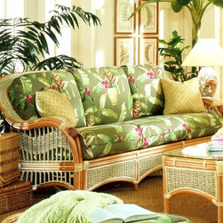 Spice Island Wicker - Wicker Sofa (Palm Floral Garden - All Weather) - Fabric: Palm Floral Garden (All Weather)Bring the beauty of the tropics to a traditional or casual setting with this wonderfully silhouetted sofa.  Situate indoors and enjoy the fine rattan woods and weaves complete with cushions in a vast range of fabric choices.  Classic curves and beautiful shell motif.  Comfortably seat three across in this attractive wicker sofa.  Choose the fabric as well as the fabric grade that fits your style and your home the best. * Solid Wicker Construction. Natural Finish. For indoor, or covered patio use only. Includes cushions. 77 in. W x 36 in. D x 36.5 in. H