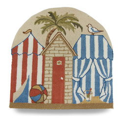 Zeckos - Beach Cabana Hooked Low Pile Accent Rug 28 in. - Perfect for an entryway, bathroom or poolhouse, this fun rug will accent your floors with a touch of beach flair This hooked style rug features a row of cabanas on the beach with a palm tree in the background and measures 28 inches long by 28 inches wide (71x71cm)) with a rounded top to add some interest Made of 50% polyester and 50% acrylic, it has grips on the back to help prevent slipping. Its is recommended to hand wash in cold water and hang to dry. This cabana inspired accent rug is sure to be admired wherever it's displayed