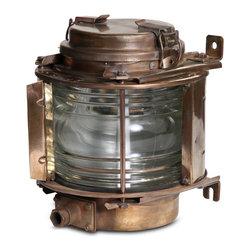 "Vintage Brass Ship Lantern - 13"" h x 11"" diam"