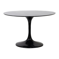 """Modway Furniture - Modway Lippa 40 Inch Fiberglass Dining Table in Black - 40 Inch Fiberglass Dining Table in Black belongs to Lippa Collection by Modway Achieve the perfect completion of time and grace with the classic Lippa Table. Reflect seamlessly as organic shapes and a slender stem-like pedestal glide you to the perfect vantage point. Elevate your surroundings beyond the sharp four-cornered traditional table as you blend divergent perspectives into one centrifugal force par excellence. Set Includes: One - 40"""" Lippa Table Dining Table (1)"""