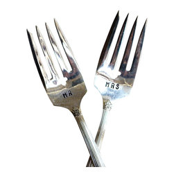 Pumpernickel & Wry - Mr And Mrs, Vintage-Style Silver Wedding Forks - Celebrate and eat cake with lovely vintage-style Mr. and Mrs. forks! Hand-stamped vintage-style silver-plated forks are a lovely way for newlyweds to eat their wedding cake, or married couples to celebrate their anniversary!
