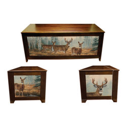 Kelseys Collection - Blanket chest - Autumn Reflections - Lodgebox is a solid radiata pine chest with giclee canvas on three sides. High quality craftsmanship and famous artwork come together to make truly unique home decor furniture. Showcases a lid that is strengthened with 3 strakes so it can function well as a bench.  Measures 48x19x20.  The lid is connected with an L shaped hinge which is affixed to the frame with five screws from two sides to the frame, and three screws each to the top, so it is, to say the least, very well secured.  Then there are two piston dampeners which soften the shutting action of the top.  Easy to assemble in around 45 minutes, weighs 40 pounds. Some assembly required. Easy to assemble in less than fourty minutes. Two dampers reduce the shutting force of the lid to protect fingers and air holes are drilled in the bottom in case kids get inside.  Artist - Rosemary Millette