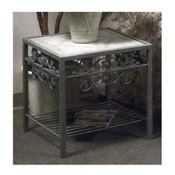 Grace Collection - Rose Garden Side Table w Glass Insert - Pictured in tile insert. Made from wrought iron. Made in USA. 22 in. W x 22 in. D x 22 in. H (42 lbs.)