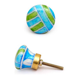 """Knobco - Plaids And Stripes Knob, Turquoise, Green White And Blue Plaid - Turquoise, green white and blue plaid designer knob from Jaipur, India. Decorative hand painted ceramic cabinet knobs for your kitchen or bathroom cabinets. 1.5"""" in diameter. Includes screws for installation."""