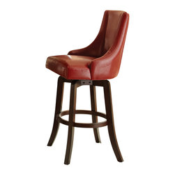 Steve Silver - Steve Silver Brooks 30 Inch Swivel Bar Stool in Red (Set of 2) - The cool contemporary style of the Brooks Collection makes a bold statement in any room, from the dining room to the lounge to a stylish family room. The red swivel bar stool has a dark wood base and a comfortable, high back vinyl upholstered swivel seat. What's included: Barstool (can only be purchased in sets of 2).