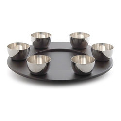 "Alessi - Alessi ""Mami"" Lazy Susan Turning Tray - Susan's not lazy; she just believes in working smarter, not harder. This sleek black wood rotating tray is a prime example. You can load the middle with fondue or appetizers, and turn it so your favorite dippers, dips or condiments come to you. The raised edge has round indentations for the SG59 and SG60 bowls, not included."