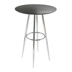"Euro Style - Bravo Bar Table w Chrome Finished Frame - Conveniently sized for bar areas, the Bravo table is commercial quality in a classic round.  Black veneered top is lacquered for added spill and scratch resistance.  Chromed base with tapered legs and support ring is contemporary in style and flared for stability. * Matte black lacquered MDF top. Chromed steel base. Easy to clean lacquer top. Durable chromed steel base. 30 in. L x 30 in. W x 42 in. H30 in. diameter top isnt the only thing that makes the Bravo Bar table a great place to gather.  The circle is repeated in the base for strength and eye appeal.  It just says, ""Relax, Id like to buy you a drink.""  But cmon, its a table!"