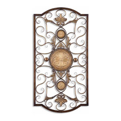 Uttermost - Uttermost Micayla Large Metal Wall Art 13476 - This decorative wall art is made of hand forged and hand embossed metal. The finish is distressed, chestnut brown with burnished edges and antiqued gold details. Companion piece is item #13475.