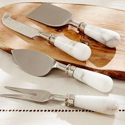 """Marble Cheese Knives, Set of 4 - Serve an assortment of favorite cheeses with coordinating knives that recall the look of timeworn vintage pieces from Napa Valley.Each knife is approximately 1.5"""" wide x 7.25"""" long.Crafted of high-grade 18/8 stainless steel with handles made of polished marble in white and gray tones.Set of 4."""
