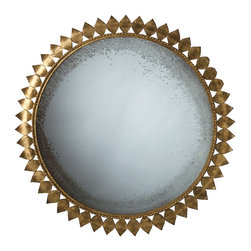 Kathy Kuo Home - Farrah Modern Gold Leaf Metal Sunburst Antique Mirror - With glass aged to perfection, this circular mirror is crowned by a garland of gold leafed metal.  An abstract sunbursts with global bazaar metal, this piece creates character and light instantly and works in a myriad of styles.