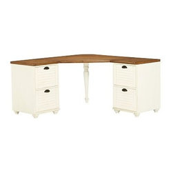 "Whitney Corner Desk Set, 1 Desktop & 2 2-Drawer File, Almond White with Honey st - Create your perfect work space with our Whitney Desk. With beautiful details like shuttered doors, bun feet and a two-tone finish, it brings beauty as well as utility to the home office. 84.5"" wide x 57"" deep x 30"" high Set includes 1 corner desktop, one 2-drawer file cabinet and one 3-drawer file cabinet. Set the corner hutch (sold separately) atop the desk to expand your storage options. Desktop finished in weathered pine, drawer and cabinets finished in almond white."