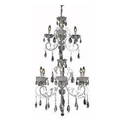Lighting By Pecaso - Kerman Large Hanging Fixture D26 H45 Lt:6+3 Chrome Finish - ChainWire Incuded  5 ft, Bulb Type E12, Bulb Wattage 60, Max Wattage 540, Voltage 110V125V, Finish Chrome, UL  Ulc Standard  YES, UL  Ulc Standard  YES