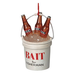 Midwest CBK - Funny Bait for Fisherman Christmas Tree Ornament - Fishing and Beer Decoration - Funny Bait Bucket Christmas Ornament