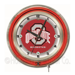 Holland Bar Stool - Holland Bar Stool Clk19OhioSt Ohio State 19 Inch Neon Clock - Clk19OhioSt Ohio State 19 Inch Neon Clock belongs to College Collection by Holland Bar Stool Our neon-accented Logo Clocks are the perfect way to show your school pride. Chrome casing and a team specific neon ring accent a custom printed clock face, lit up by an brilliant white, inner neon ring. Neon ring is easily turned on and off with a pull chain on the bottom of the clock, saving you the hassle of plugging it in and unplugging it. Accurate quartz movement is powered by a single, AA battery (not included). Whether purchasing as a gift for a recent grad, sports superfan, or for yourself, you can take satisfaction knowing you're buying a clock that is proudly made by the Holland Bar Stool Company, Holland, MI. Clock (1)