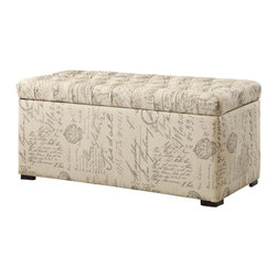 Ave Six - Tufted Storage Bench - Covered in a high performance, easy care script fabric