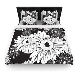 "Kess InHouse - Laura Escalante ""Midnight Florals"" Black Sunflower Fleece Duvet Cover (Twin, 68"" - You can curate your bedroom and turn your down comforter, UP! You're about to dream and WAKE in color with this uber stylish focal point of your bedroom with this duvet cover! Crafted at the click of your mouse, this duvet cover is not only personal and inspiring but super soft. Created out of microfiber material that is delectable, our duvets are ultra comfortable and beyond soft. Get up on the right side of the bed, or the left, this duvet cover will look good from every angle."