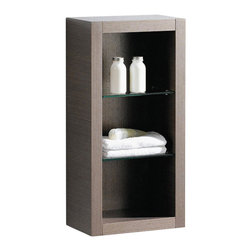 "Fresca - Gray Oak Bathroom Linen Cabinet, Gray - This attractive hanging side cabinet comes in a Gray Oak finish.  It features 2 glass shelves with 3 open areas.  Dimensions: 15.75""W X 10""D X 32""H; Features: 2 Glass Shelves; Finish: Gray Oak; Hardware: N/A; Assembly: Fully Assembled"